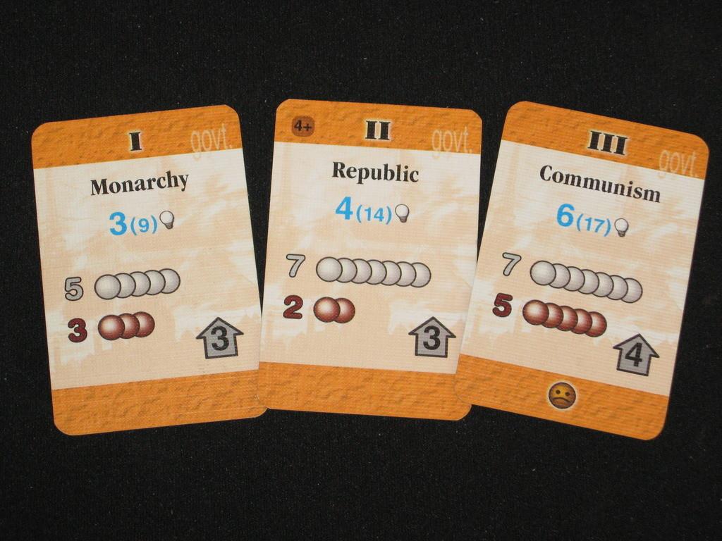 Карти с правителства от оригинала. Източник на снимката: Boardgamegeek.com